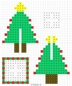 Christmas tree perler bead pattern The little focus on the most romantic feast of the year Eieiei, the Xmas party is approaching and yo Perler Bead Ornaments Pattern, Easy Perler Bead Patterns, Melty Bead Patterns, Perler Bead Templates, Beading Patterns, Perler Bead Designs, Hama Beads Design, Diy Perler Beads, Perler Bead Art