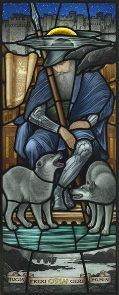 Brian James Waugh is a talented artist from Glasgow, Scotland. He created this beautiful stained glass panel of Odin based on a sketch Pre-Raphaelite artist Edward Burne-Jones(Welsh) did for William Morris, the influential Victorian writer and designer, who had been commissioned to produce stained glass for the Vinland mansion in Newport, Rhode Island. https://www.facebook.com/WildEyedSouthernCelt?fref=photo