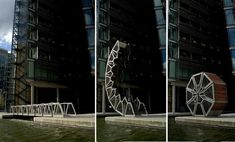 Thomas Heatherwick's Rolling Bridge, completed in 2004 at Grand Union Canal Paddington Basin, London, is one of the most unique bridges in the world. A small pedestrian crossing, it is designed to curl up to allow boats through the inlet and uncurl again over the water.