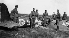German soldiers in the dawned fighter Polish PZL P.11