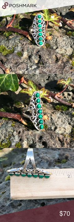 Malachite Ring Beautiful malachite Set in handcrafted 925 sterling silver  *stamped  Size 6.75 See pictures for measurements  NWOT Robin's Nest Jewels Jewelry Rings