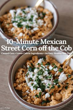 This super easy recipe transforms canned corn into creamy, flavorful Mexican street corn off the cob. And as an added bonus, lower calorie ingredients make this a healthyish side dish that's ready in minutes. Healthy Side Dishes, Side Dishes Easy, Healthy Dinner Recipes, Mexican Food Recipes, Appetizer Recipes, Healthy Meals, Delicious Recipes, Easy Recipes, Healthy Food