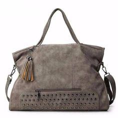 8b01120d36 Nubuck Leather Shoulder Bag with Rivets