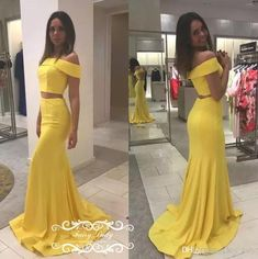 Sexy Two Piece Mermaid Prom Dresses 2018 Yellow Stretchy Satin Long Off Shoulder Formal Evening Dress For Women