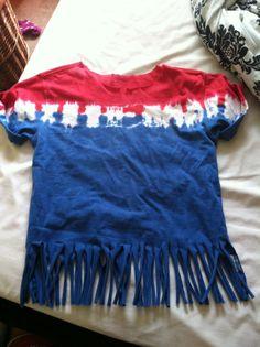 diy fringe shirt red white and blue tye dye