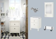 HEMNES/ODENSVIK white wash-stand with two drawers and APELSKÄR mixer tap