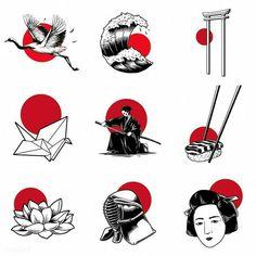 ideas tattoo designs vintage for 2019 Japan Illustration, Simple Illustration, Free Illustrations, Tattoo Illustration, Flash Art Tattoos, Body Art Tattoos, Sleeve Tattoos, Kunst Tattoos, Tattoo Drawings
