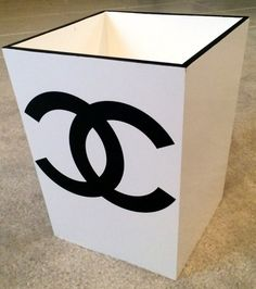CHANEL White Lacquer Waste Bin by CremedelaCremebyJ on Etsy, $90.00
