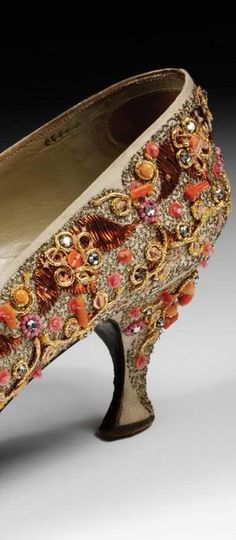 Shoe, Roger Vivier for Christian Dior. Coral and diamante embroidered satin. Paris about 1958.