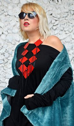 Extravagant Red Necklace Red Leather Jewelry Long Geometric https://www.etsy.com/listing/512834135/extravagant-red-necklace-red-leather?utm_campaign=crowdfire&utm_content=crowdfire&utm_medium=social&utm_source=pinterest