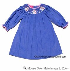 Claire & Charlie Girls Periwinkle Blue Corduroy Smocked Snowman Long Sleeved DRESS