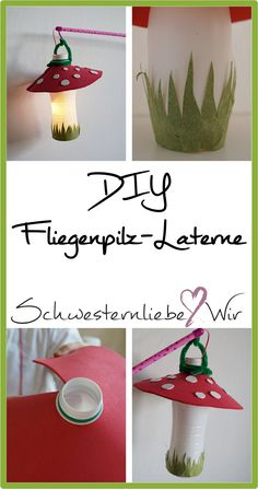 DIY // Eine Fliegenpilz-Laterne für Sankt Martin Toadstool lantern So you can quickly make a pretty lantern for the next lantern move. Cheap Fall Crafts For Kids, Easy Fall Crafts, Xmas Crafts, Yarn Crafts, Diy Crafts, Summer Crafts, Easter Crafts, Christmas Angels, Christmas Art