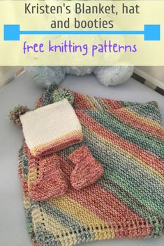 This is an easy trio of free patterns to knit for the next baby in your life! simple baby blanket hat and booties knitting patterns candyloucreations knitblanket knitbabyhat knitbooties babyknits rg battaniye modelleri stek zerine Easy Knit Baby Blanket, Free Baby Blanket Patterns, Knitted Baby Blankets, Knitted Throws, Baby Patterns, Baby Mittens Knitting Pattern, Baby Hats Knitting, Knitting Patterns Free, Beanie Pattern