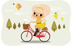 cutie on a bike! Bicycle Illustration, Illustration Girl, Pattern Illustration, Kids Bicycle, Bicycle Art, Bike Drawing, Cartoon People, Bike Rider, Cool Art