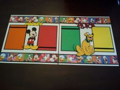 "Disney Mickey Mouse  Pluto 12""x12"" Scrapbook Layout Premade 2 Page Disneyland"