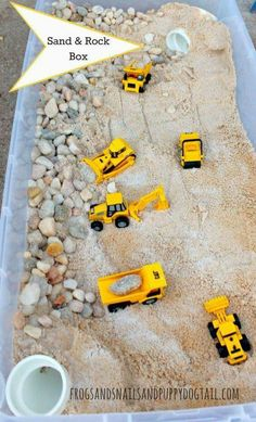 Sand and Rock Box - FSPDT How to make a sand and rock box for your kids play trucks.How to make a sand and rock box for your kids play trucks. Projects For Kids, Diy For Kids, Crafts For Kids, Crafts For 3 Year Olds, Crafts Cheap, Diy Projects, Easy Crafts, Toddler Play, Toddler Crafts