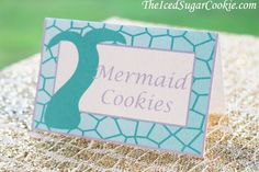 DIY Mermaid Birthday Party Printable Food Label Tent Cards Digital Download Template-Purple & Aqua