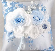 Bridal Ring Bearer Pillow in Blue and White with ♥ by SolBijou, $50.00