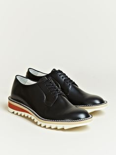 HIROSHI TSUBOUCHI MEN'S RIPPLE SOLE DERBY SHOES