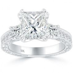 2016 Three Stone Princess Cut Diamond Engagement Ring | Liori Diamonds Front