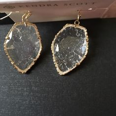 "Kendra Scott Corley Crackles Earrings Crackle crystal glass and 14K gold plated over brass Size: L 1.31"" x 1"" W French wire  Dust bag included Kendra Scott Jewelry Earrings"