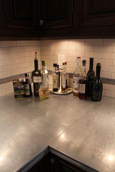 Zinc Countertop Corner Seam Kitchen Colour Schemes Colors Color Countertops