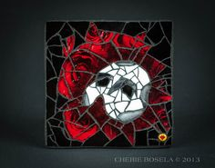 """Phantom of the Opera mosaic by Cherie Bosela - This was a commissioned mosaic ----- SIZE: 3.5"""" x 3.5"""" ----- MEDIUM: Stained glass, glitter and photo pf roses underneath the glass"""