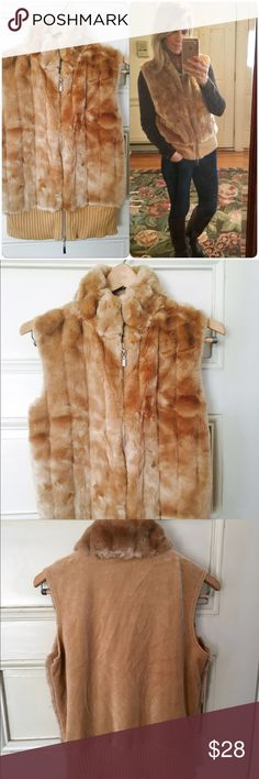 Victoria's Secret Camel Fur Vest Beautiful VS Moda Camel Faux Fur Vest. Love this Vest! I really needed it in an XS, so pretty and soft. Zip up front, great look with boots and jeans! Great Condition! Victoria's Secret Jackets & Coats Vests