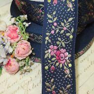 10y SPOOL VTG SWISS JACQUARD WOVEN RIBBON TRIM FRENCH DOLL DRESS FLOWER ROSES