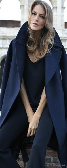 blue navy coat. women fashion outfit clothing style apparel @roressclothes closet ideas