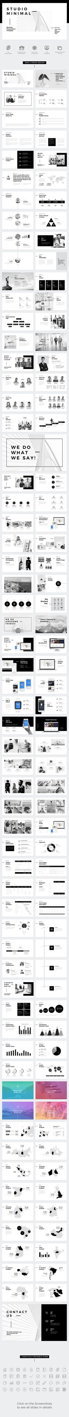 Studio Minimal Presentation #PowerPoint Template - Business PowerPoint Templates