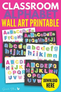 Here's a great set of colorful alphabet printable wall art free to download! It's a great way to brighten up a classroom, teachers and kids will both love these modern templates! There's uppercase and lower case letters with chalkboard and whiteboard style designs. Check them out! #wallart #freeprintables #wallartprintables #classroomprintables Free Printable Art, Printable Designs, Free Printables, Alphabet Wall Art, Letter Art, Letter Games, Cool Wall Art, Kids Room Wall Art, Wall Art Quotes