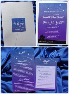Purple,-Blue-&-Silver-Star-Gazing,-Couple-Under-Starry-Night,-Shooting-Stars-&-Crescent-Moon-Pocketfold-Wedding-Invitaitons