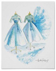 Watercolor Fashion, Watercolor Print, Christmas Paintings, Christmas Art, White Christmas Dress, Sister Costumes, Dress Painting, Custom Posters, Blue Dresses