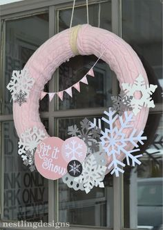 Winter birthday party themes: sweater wreaths by Nestling Designs