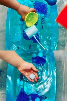 Rain Sensory Bin for Weather Theme. Eye Dropper, Blue Food Coloring, Water Blue, Sensory Bins, Balls, Rain, Weather, Vacation, Summer
