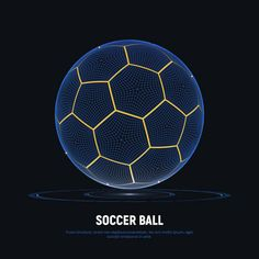 Digital hologram of soccer ball with hud elements. Futuristic football. Wireframe mesh of soccer ball with yellow lines. High tech background on sports. Data Visualization. векторная иллюстрация