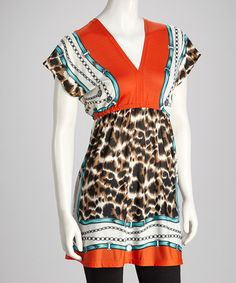 Take a look at this Orange Leopard V-Neck Tunic by Orange Zone Inc. on #zulily today!   $12.99, regular 29.95