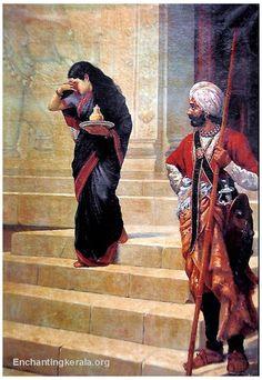 Sairandhri - Draupadi in Disguise Carrying Milk and Honey to the Court of Keechaka - Reprints of Raja Ravi Varma Paintings (Reprint on Paper - Unframed) Ravivarma Paintings, Indian Art Paintings, Indian Artwork, Raja Ravi Varma, Indian Women Painting, Academic Art, Art Society, India Art, Art Corner