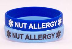 Nut Allergy Medical Alert Bracelet 2 Pack Light and Dark Blue Peanut, Tree Nut