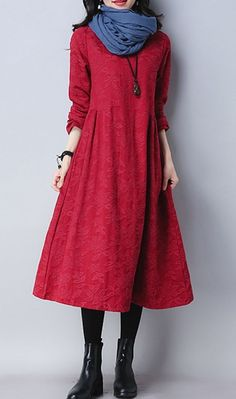 Women loose fitting over plus size dress pocket maxi tunic fashion long sleeve #Unbranded #dress #Casual