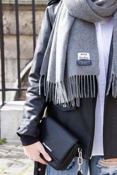 ONETEASPOON JEANS LOOK | oak&fort leather jacket, h&m blouse, one teaspoon jeans, acne studios scarf, adidas stan smith sneakers, karl lagerfeld bag