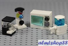 LEGO - 4x Lot Microwave Mixer Coffee Maker Water Cooler - Drink Food Minifigure