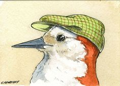 BIRDS IN HATS SET  no2  SPECIAL  set of 4 ACEO by poordogfarm, $20.00