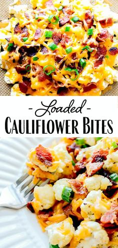 Loaded Cauliflower Bites - Cauliflower Recipes - Loaded Cauliflower Bites – a low carb alternative to potato skins! Bite-size pieces of cauliflowe - Cauliflower Side Dish, Loaded Cauliflower, Cauliflower Bites, Cauliflower Recipes, Dinner Side Dishes, Low Carb Side Dishes, Side Dishes Easy, Side Dishes For Burgers, Potato Dishes Easy