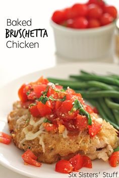 Baked Bruschetta Chicken on SixSistersStuff.com- this is the perfect dinner recipe to use up all those fresh tomatoes!