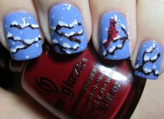 Winter Cardinal Nails - Winter Christmas Nail Art