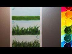 3 способа рисования ТРАВЫ гуашью - YouTube