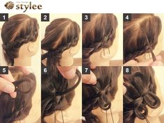 慣れれば簡単!リボン編み込みの作り方 Hair Arrange, Dreadlocks, Hair Styles, Beauty, Hair Plait Styles, Hair Makeup, Hairdos, Haircut Styles, Dreads