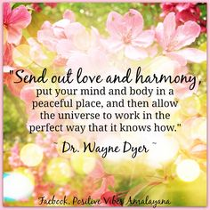 """Send out love and harmony, put your mind and body in a peaceful place, and then allow the universe to work in the perfect way that it knows how. Positive Life, Positive Thoughts, Daily Thoughts, Spiritual Awakening, Spiritual Quotes, Wayne Dyer Zitate, Wayne Dyer Quotes, Mind Body Spirit, Love And Light"